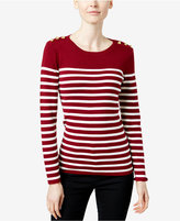 Charter Club Striped Button-Trim Top, Only at Macy's
