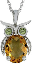 Fine Jewelry Lab-Created Citrine and Simulated Peridot Owl Sterling Silver Pendant Necklace