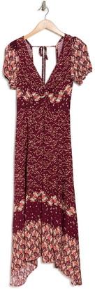 Luna Chix Dual Print Handkerchief Hem Midi Dress