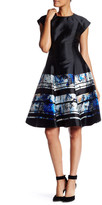 Sachin + Babi Crew Neck Cap Sleeve Print Fit and Flare Dress