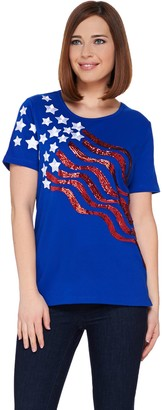 Quacker Factory Stars and Stripes Sequin Short Sleeve T-shirt