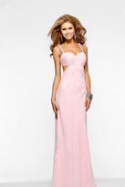 Faviana Embellished Draped Cut-out Long Evening Gown 7119