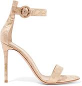 Gianvito Rossi Portofino Brocade Sandals - Blush