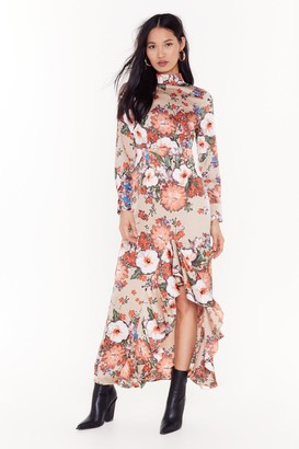 Nasty Gal Womens Ignoring Floral the Facts High Neck Maxi Dress - Nude