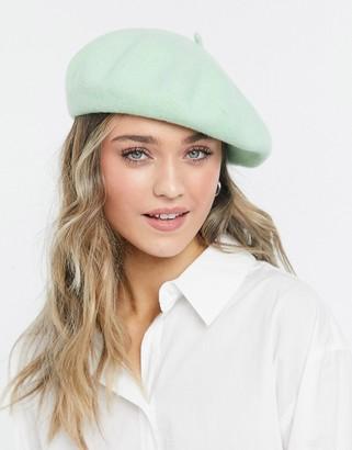 Monki Brooklyn wool beret in green