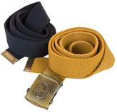 Timberland Navy Blue & Gold Cotton Belt Set