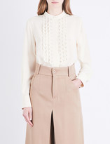 Chloé Eyelet-embroidered silk-crepe de chine shirt