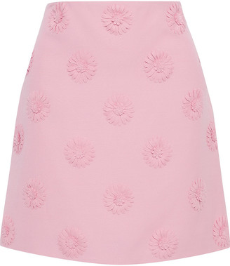 Valentino Floral-appliqued Wool And Silk-blend Crepe Mini Skirt