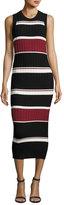 Veronica Beard Macgraw Sleeveless Striped Midi Dress, Black