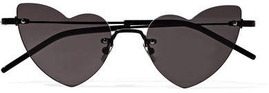 Saint Laurent New Wave Loulou Heart-shaped Metal Sunglasses - Black