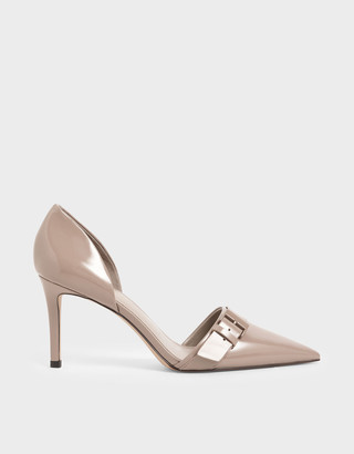 Charles & Keith Patent Buckled D'Orsay Pumps