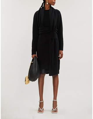 Bottega Veneta Scoop-neck slim-fit brushed wool midi dress