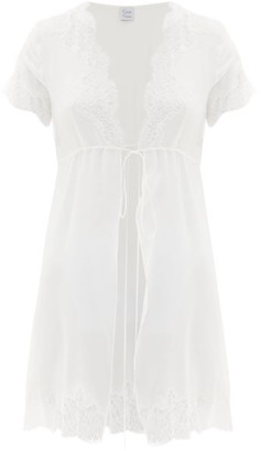 Carine Gilson Lace-trimmed Silk-georgette Nightdress - Womens - Ivory