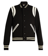 Saint Laurent Leather-trimmed teddy jacket