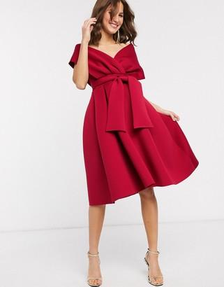 ASOS DESIGN fallen shoulder midi prom dress with tie detail in red