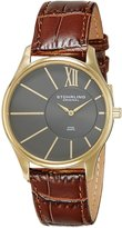 Stuhrling Original Men's 553.3335K54 Classic Cuvette SD Swiss Quartz Slim Gold-Tone Dial Watch
