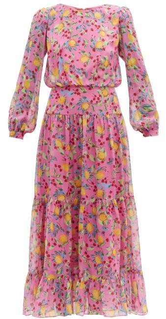 Saloni Isabel Lemon Print Silk Georgette Dress - Womens - Pink Multi