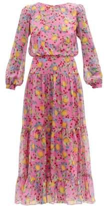 Saloni Isabel Lemon-print Silk-georgette Dress - Womens - Pink Multi