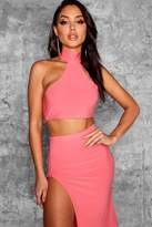 boohoo Josephine High Neck Racer Crop Top