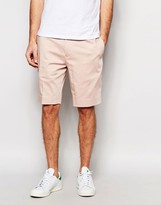 Asos Skinny Mid Length Tailored Shorts In Light Pink