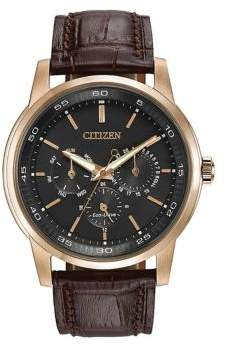 Citizen Mens Eco Drive Rose Goldtone and Leather Watch