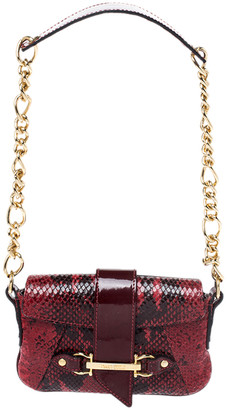Dolce & Gabbana Red/Black Python Leather Flap Chain Shoulder Bag
