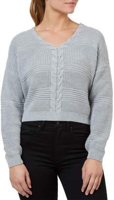 Numero Denim Lace Up Back Crop Sweater