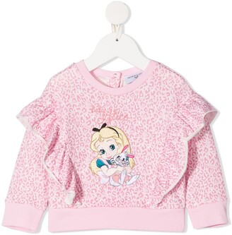 MonnaLisa Alice embroidery leopard-print sweatshirt