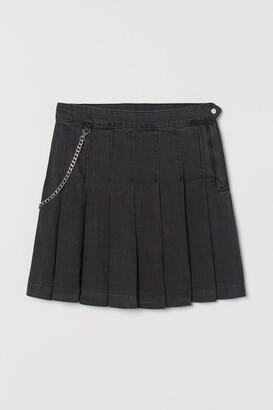 H&M Pleated denim skirt