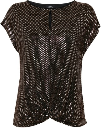 Wallis **TALL Bronze Sequin Knot Front Top