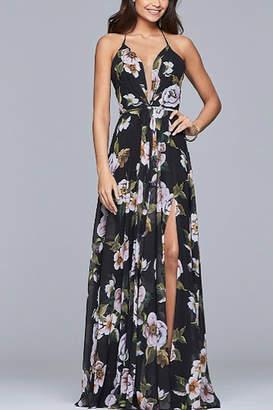 Faviana Chiffon v-neck dress with full skirt and lace-up back