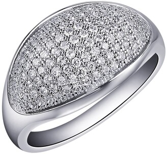 Lafonn Platinum Plated Sterlng Silver Micro Pave Simulated Diamond Half Moon Ring