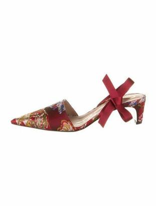 Oscar de la Renta Floral Print Bow Accents Slingback Pumps Red