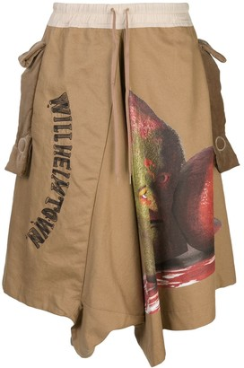 Bernhard Willhelm graphic print drop-crotch trousers