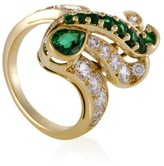 Estate Piaget 18K Yellow Gold with Diamond and Emerald Ring Size 6.25