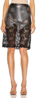 Paco Rabanne Lace Trim Skirt in Black 90's Grungy Romant   FWRD