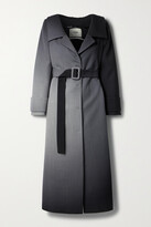 Thumbnail for your product : Fendi Off-the-shoulder Belted Ombre Wool Coat - Black