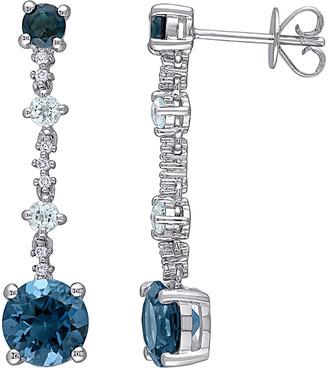 Rina Limor Fine Jewelry 14K 4.03 Ct. Tw. Diamond & London Blue Topaz Dangle Earrings