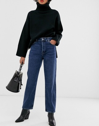 Selected organic cotton high waist straight leg jeans in blue wash