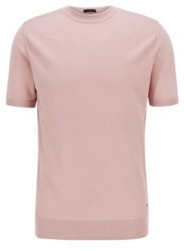 HUGO BOSS Short Sleeved Sweater In Pure Silk With Structured Front - light pink