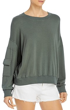 Monrow Pocketed-Sleeve Sweatshirt