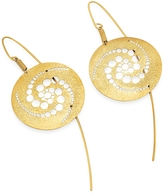 Stefano Patriarchi Golden Silver Etched Crop Circle Round Drop Earrings