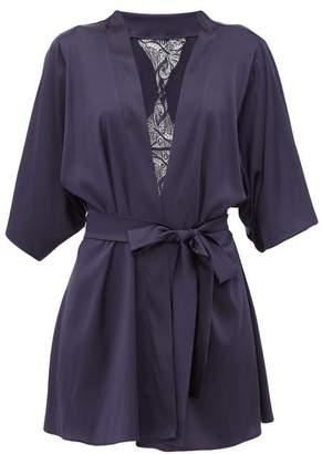 Fleur of England Iris Short Silk-blend Robe - Womens - Navy
