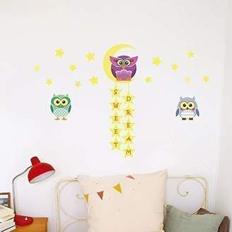 Mural Walplus Wall Stickers Owl Tree Star Removable Self-Adhesive Art Decals Vinyl Home Decoration DIY Living Bedroom Office Décor Wallpaper Kids Room Gift, Multi-colour