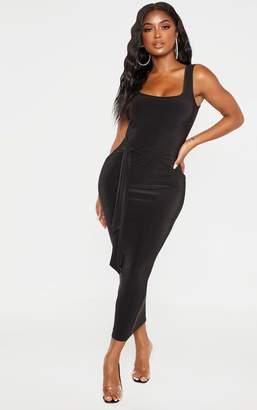 PrettyLittleThing Shape Black Slinky Tie Front Midaxi Dress