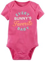 """Carter's Baby Girl Every Bunny's Favorite Baby"""" Graphic Bodysuit"""