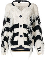 Sacai frayed chunky striped cardigan