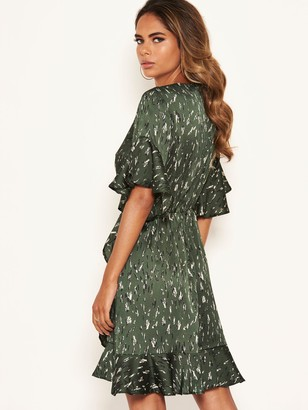AX Paris Printed Satin Wrap Dress - Green