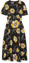 Michael Kors Floral-print Silk Crepe De Chine Midi Dress - Black