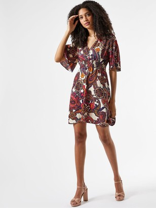 Dorothy Perkins ShirredWaist Paisley PrintMini Dress - Multi